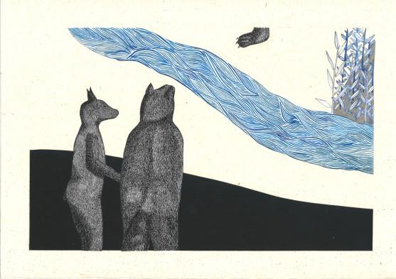 Bleu horizon I – 29,7×42 cm —- ACHAT OEUVRE ORIGINALE – 150€ https://astridjo.com/contact/